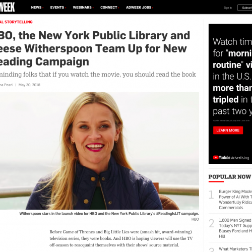 HBO the New York Public Library and Reese Witherspoon Team Up for New Reading Campaign – Adweek