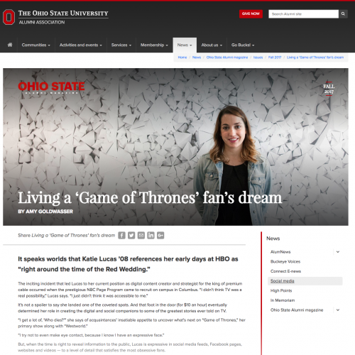 Living a 'Game of Thrones' fan's dream The Ohio State University Alumni Association