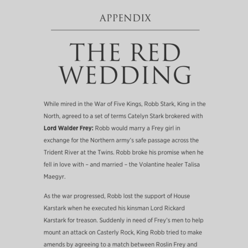 Game of Thrones Viewers Guide: Red Wedding